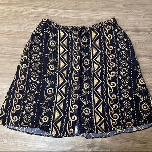 Career Elements patterned button front 3/4 skirt